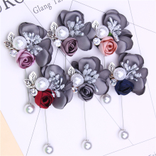 fashion pearl brooch jewelry fabric flower pin rhinestone brand brooches cute broche pins metal leaf for women gift