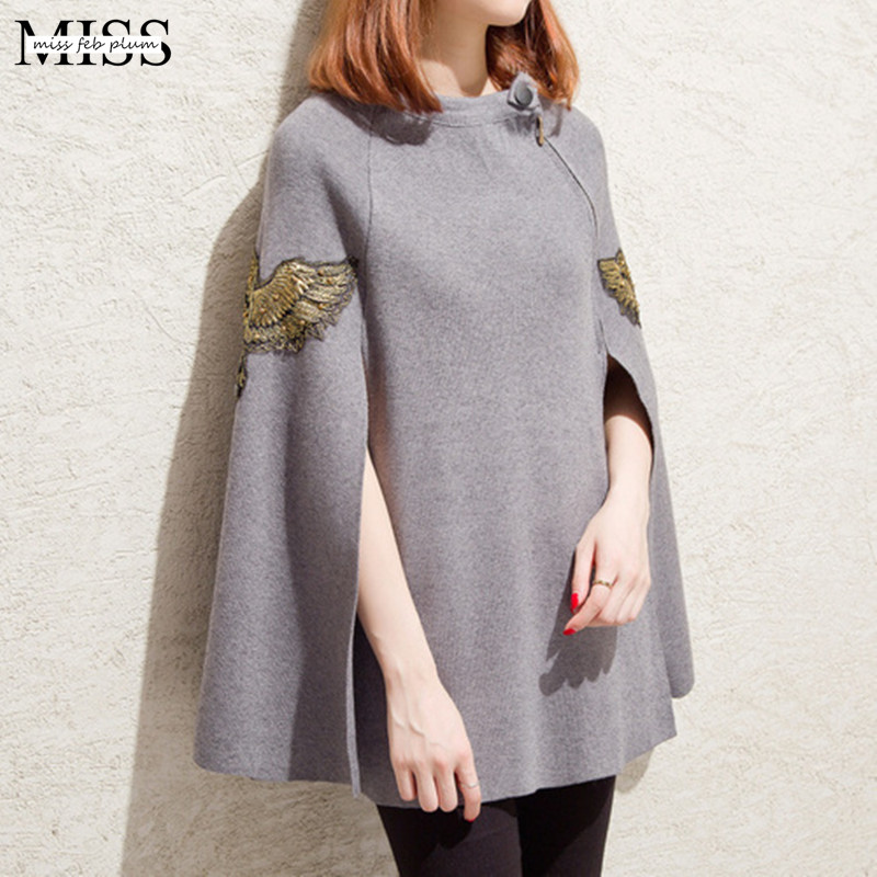 MISSFEBPLUM Korean Style font b Women b font Sweaters and Pullovers Fall 2017 Poncho Feminino Inverno
