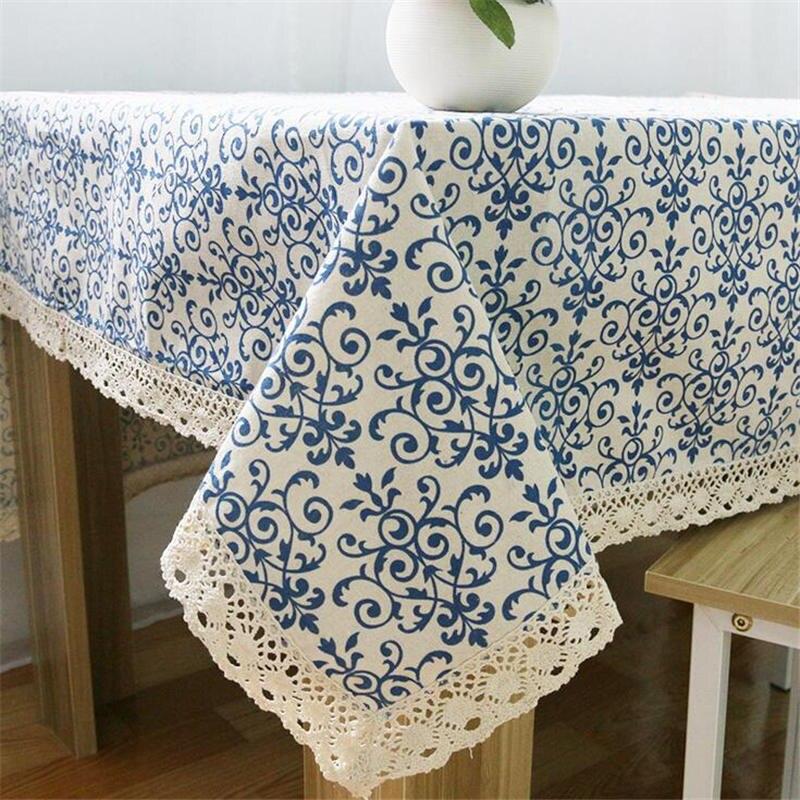 Ретро сине-белые китайский фарфор sstyle скатерть хлопок и лен прямоугольные скатерть пыле Кружево Скатерти 60x60 см