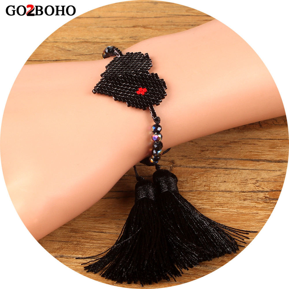 Go2boho Dropshipping MIYUKI Heart Bracelet Delicas Black Crystal Seed Beads Bracelets Long Tassel Jewelry Inspired Women Gifts все цены