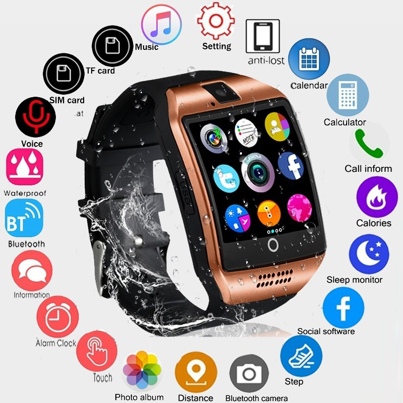 2019 Bluetooth Smart Watch Men Q18 With Touch Screen Big Battery Support TF  Sim Card Camera for Android Phone Smartwatch PK DZ09