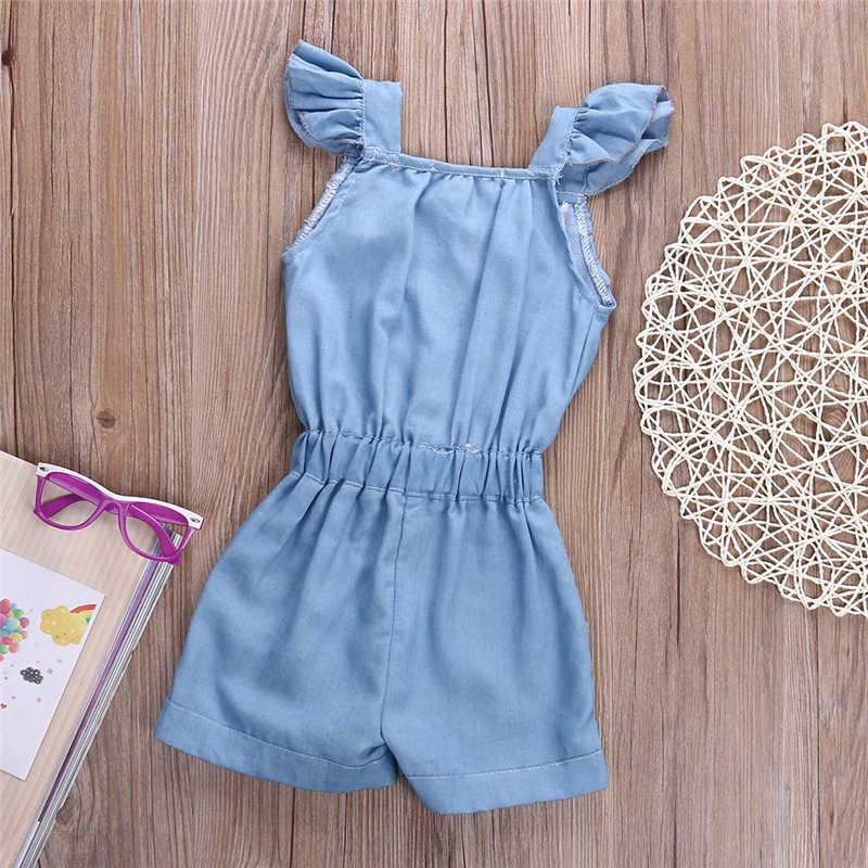 Sıcak Yürüyor Çocuk Bebek Kız Pamuk Yıkanmış Kot Romper Denim Rahat Yay tulum Bebek Kız Giysileri 2018 Yeni Varış Tulumlar 0-5Y