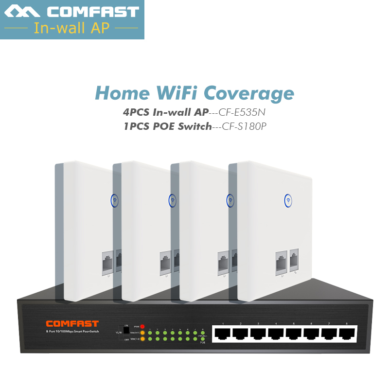 4pcs DHL Home Wifi Solution Comfast E535 300Mbps Wall Embedded Wireless WiFi Repeater RJ11/ RJ45 AP +1 8 Ports Fast Poe Switch
