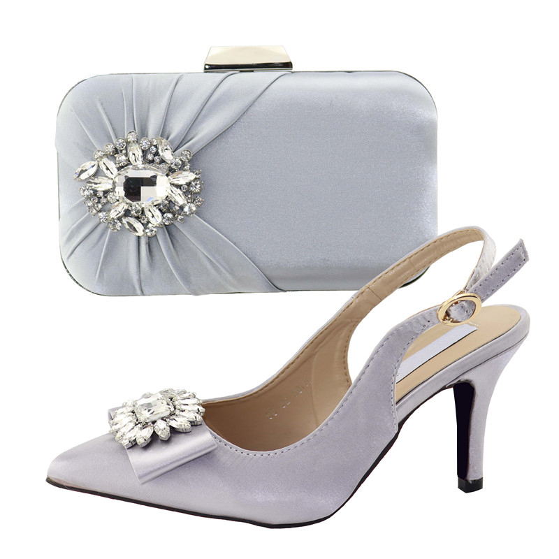Big stones silver color sandals and clutches bag african aso ebi italian new fashion shoes and bag italian shoe bag set SB8322-4Big stones silver color sandals and clutches bag african aso ebi italian new fashion shoes and bag italian shoe bag set SB8322-4
