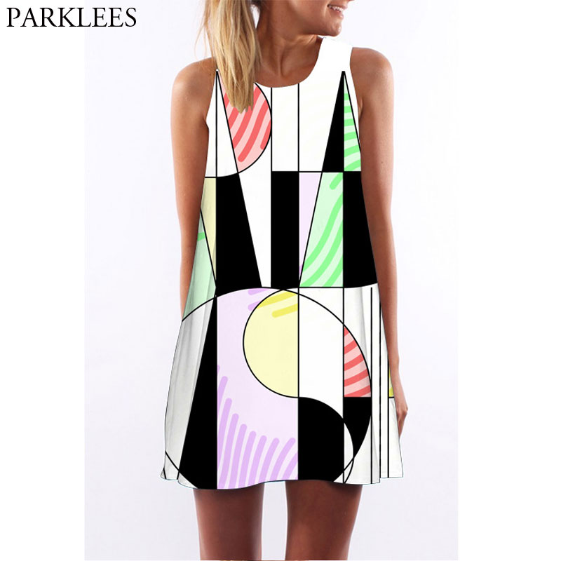 Women Summer Boho Beach Sundress Casual Sleeveless O Neck A Line Short Mini Dress Geometric 3D Printed Party Holiday Sweet Dress