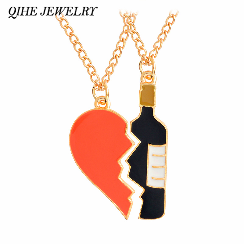 Qihe Jewelry 2 Pieces Heard And Wine Pendant Necklace Best