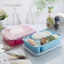 Hot 4 + 1 Vollständig Versiegelt Lebensmittelbehälter 4-Compartments Bento Box Suppenschüssel Mit Kunststoff Scoop Pratos Mikrowelle mahlzeit werkzeuge