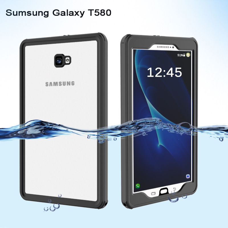 IP68 Waterproof Case for Samsung Galaxy Tab A T580 10.1 Cases Transparent Shockproof Cover Outdoor Diving Swimming for T580
