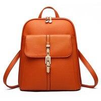Casual PU Pratical Schoolbag Traveling Bag Zipper Elegant Women Backpacks Orange