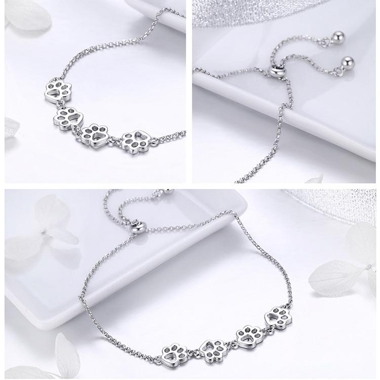 HTB1CBuvao rK1Rjy0Fcq6zEvVXav BAMOER New Arrival Genuine 925 Sterling Silver Animal Footprints Chain Bracelets for Women Valentines Day Jewelry Gift SCB096