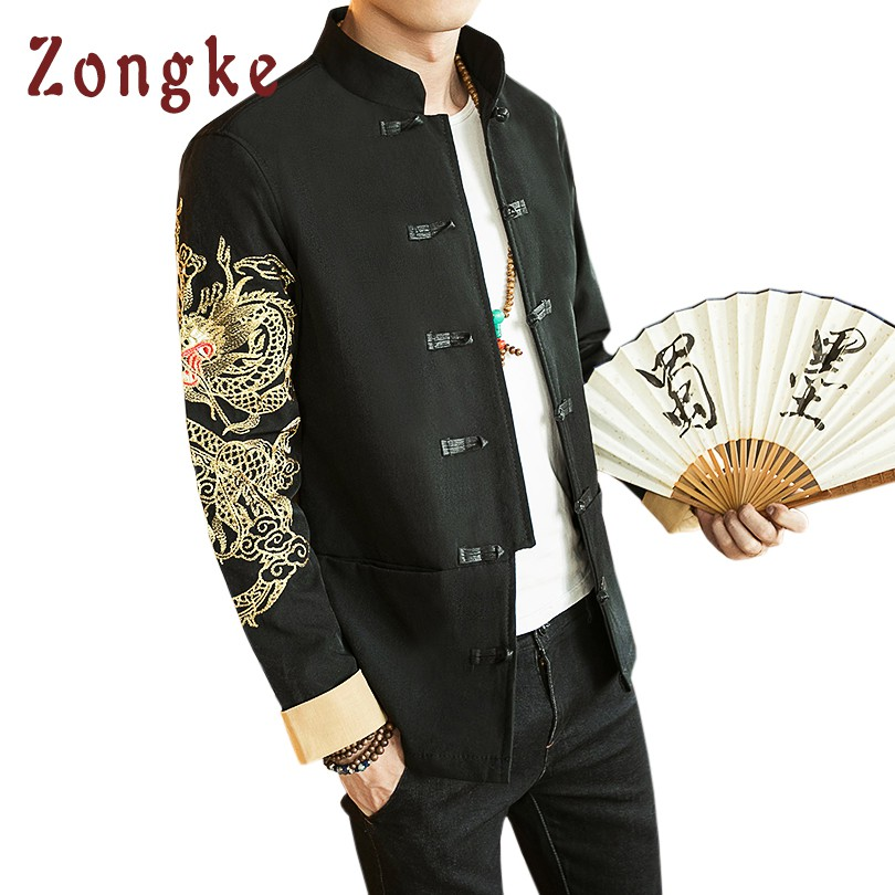 2018 New Chinese Golden Dragon Embroidery Bomber Jacket Coat Men Jaqueta Masculina Casua ...