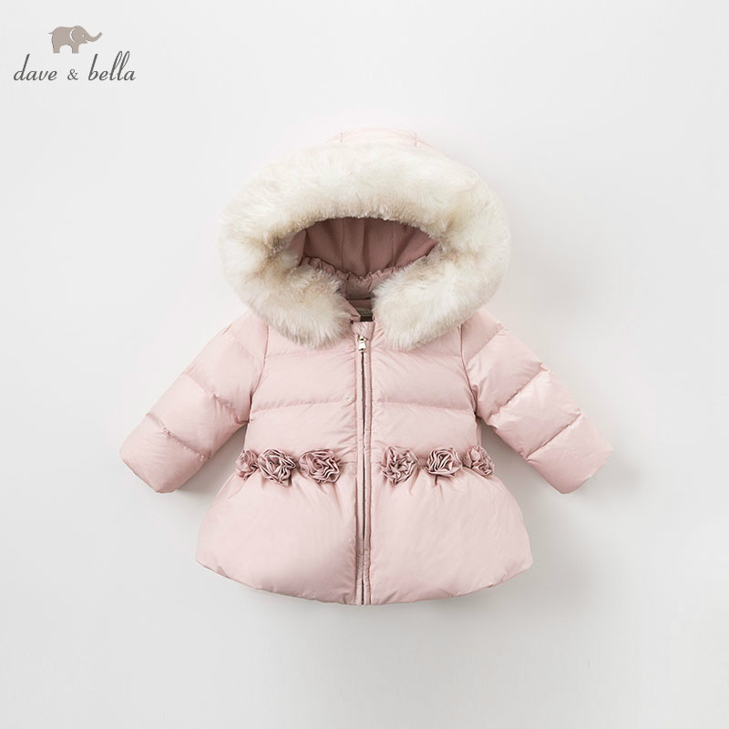 DB8831 dave bella winter baby down coat girls hooded outerwear children 90% white duck down padded kids with fur pocket coat