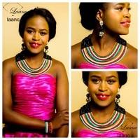 Laanc Brand Nigerian Wedding African Beads Jewelry Set Crystal Black Multicolor Costume Necklace Dubai Indian Jewellery AL269