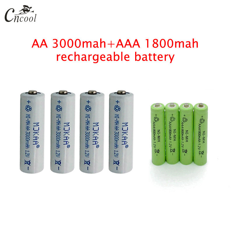 20 Pcs AA 3000mAh Ni-MH Rechargeable Batteries + 20 Pcs AAA 1800mAh Rechargeable Batteries