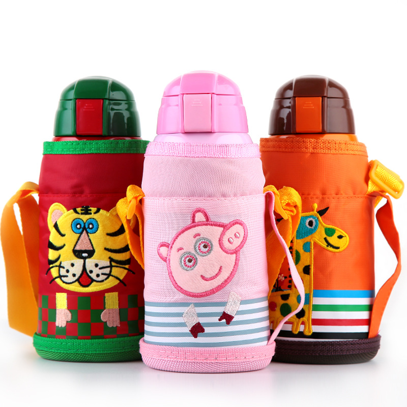 600ml Baby Thermos Vacuum Flask Stainless Steel Thermos Bottle Children Insulated Water Kettle 1 Cup Cover 4 Caps With Straw