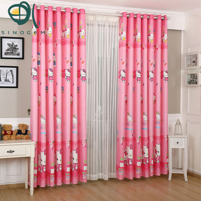 Sinogem Curtain Children Curtains Kids Cat Curtain Pink Printing ...