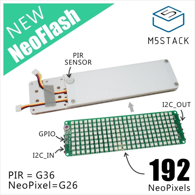US $27 6  Aliexpress com : Buy M5Stack Newest NeoFlash Light Board made of  Acrylic with 192pcs NeoPixels and PIR Sensor compatible with M5Core I2C