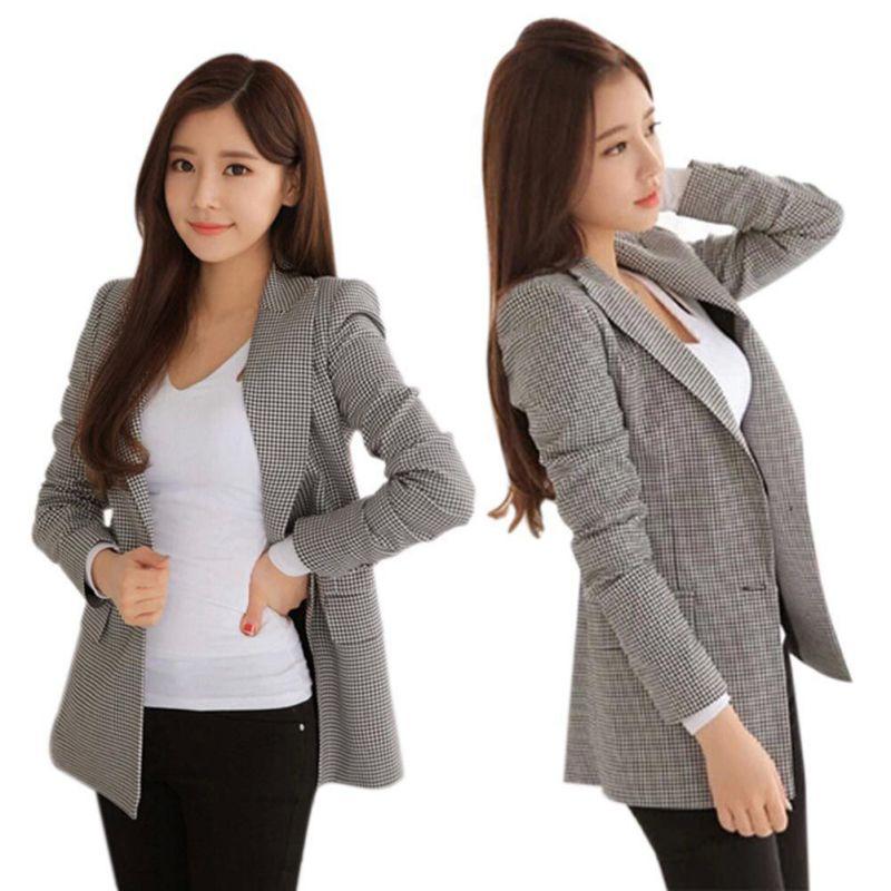 2017 נשים משובצות גבירותיי שרוול ארוך חליפת טרייל ומעילי בגדי עבודה בליזר בתוספת גודל מזדמן הלבשה עליונה נשית ללבוש עבודה מעיל
