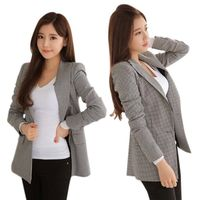 2017 Women Plaid Blazers and Jackets Suit Ladies Long Sleeve Work Wear Blazer Plus Size Casual Female Outerwea