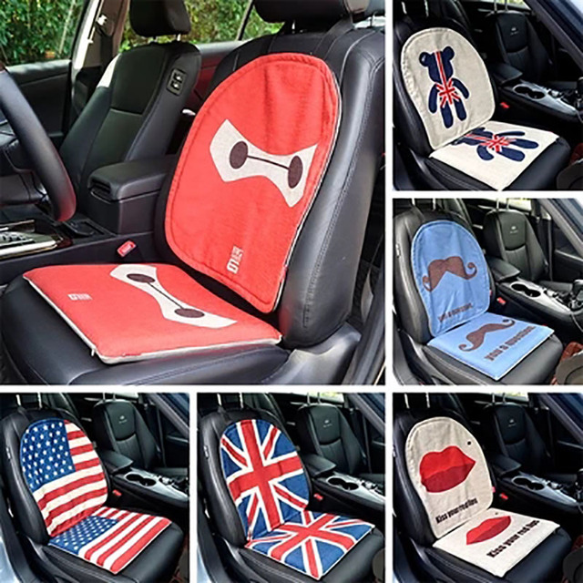 Us 31 18 Cartoon Linen Car Seat Cushion Front Summer Cute Seats Protectors Auto Seat Covers Universal Car Van Uk British Flag Monkey Bear In