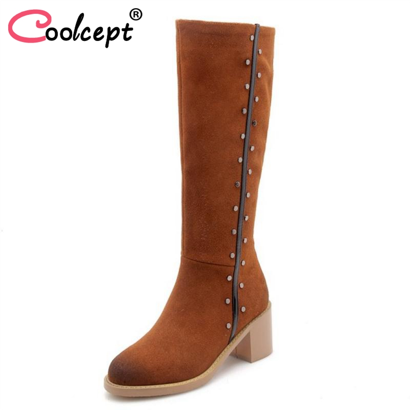 Coolcept Ladies Winter Boots Real Leather Knee Boots Womens Shoes Rivets Zipper Fashion Long Boots Women Footwear Size 33-40Coolcept Ladies Winter Boots Real Leather Knee Boots Womens Shoes Rivets Zipper Fashion Long Boots Women Footwear Size 33-40