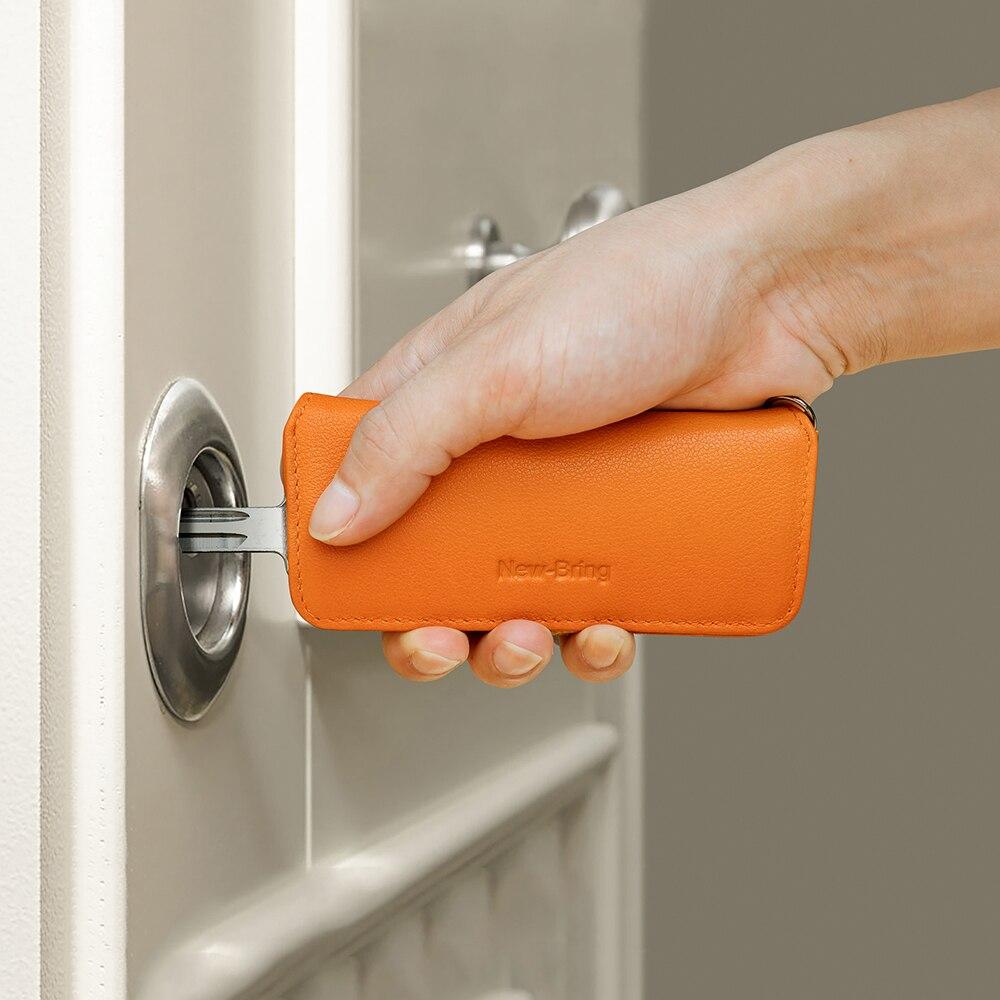 NewBring Genuine Leather Elegant Key Holder Housekeeper Women Key Organizer Men Smart Key Wallet DIY Keychain EDC With Gift Box