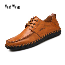 VASTWAVE New Men Loafers Luxury Brand Men Shoes Fashion Casual Male Shoes Lace Men Leather Shoes Designer Leather Flat Shoes mycolen luxury designer men shoes brand spring autumn new mens black casual shoes lace up personality fashion men shoes