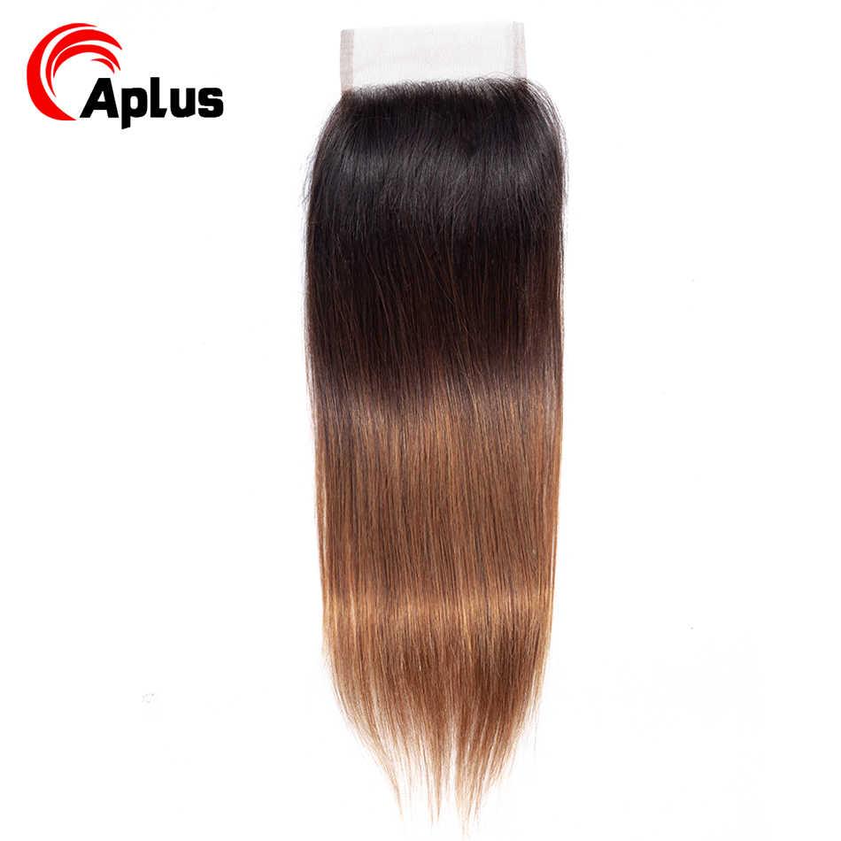 T1B/4/30 эффектом деграде (переход от темного к перуанские прямые волосы пучки волос с закрытием темные корни Aplus-Реми 3 человеческих волос Связки с закрытием 4 шт./лот