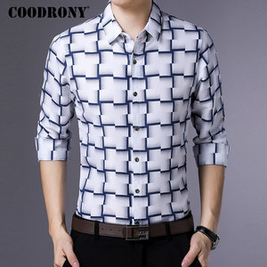 Image 2 - COODRONY Long Sleeve Shirt Men Business Casual Shirts Men Clothes 2019 Autumn New Arrivals Plaid Camisa Masculina Plus Size 8738
