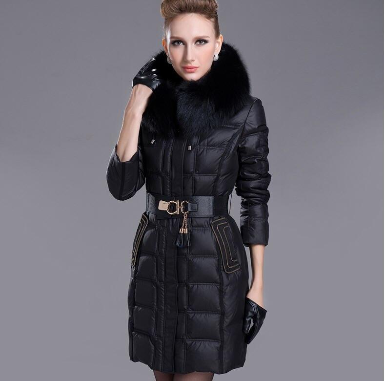 2013 Winter Euro Fashion Original Brand Women Slim Warm Windproof Large Wild Snow Rabbit Fur Collar Duck Down Jacket S-Xxl D1903