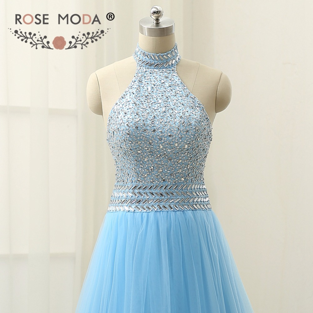 Rose Moda Halter Blue Prom Dress Floor Length Cut Out Back Crystal ...