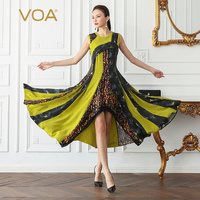 VOA Silk Swing Dress Women Long Dresses Plus Size 5XL Print Slim Sexy Elegant Vintage Bohemian