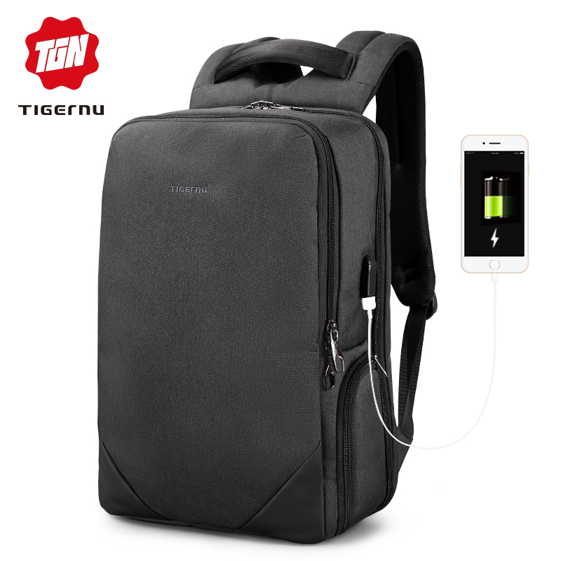 2019 Tigernu male 15 6 laptop backpack usb charge backpacks men female splashproof anti theft travel