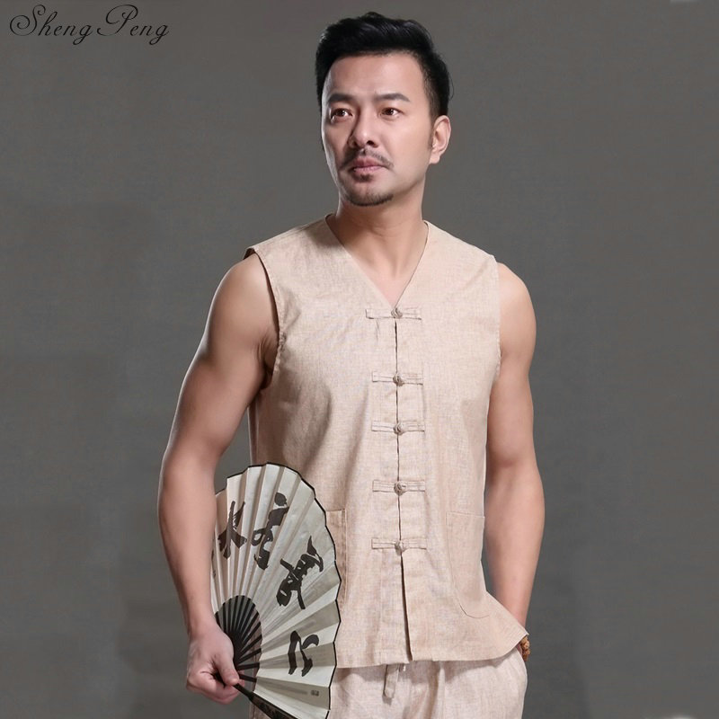 Vêtements chinois traditionnels shanghai tang oriental hommes vêtements traditionnels chinois gilet chinois haut hanfu hommes V776
