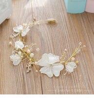 Fashion Flower Crown Rhinestone Pearl Hairband Tiara Crystal Floral Hairwear Sweet Bride Headpiece Wedding Accessories Roufeng