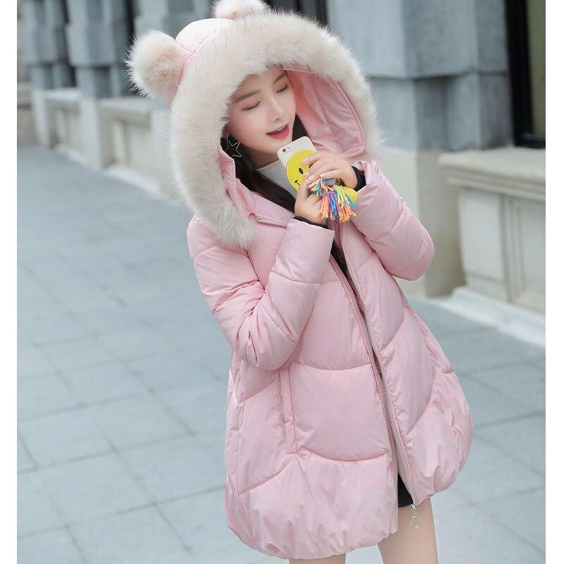Cute Hooded Ear 2018 Winter Jacket Women Thick Long Women Parkas Female Outwear Coat Down Cotton Padded Snow Wear Pink kawaii