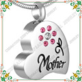 CMJ8549 Memorial of mother cremation ashes urn flower heart pendant jewelry with pink crystal colar feminino