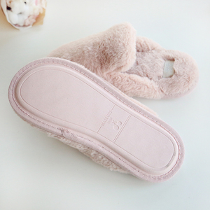 Image 4 - Lovely Faux Rabbit Fur Winter Women Home Slippers For Indoor Bedroom House Soft Bottom Cotton Warm Shoes Adult Guests Flats