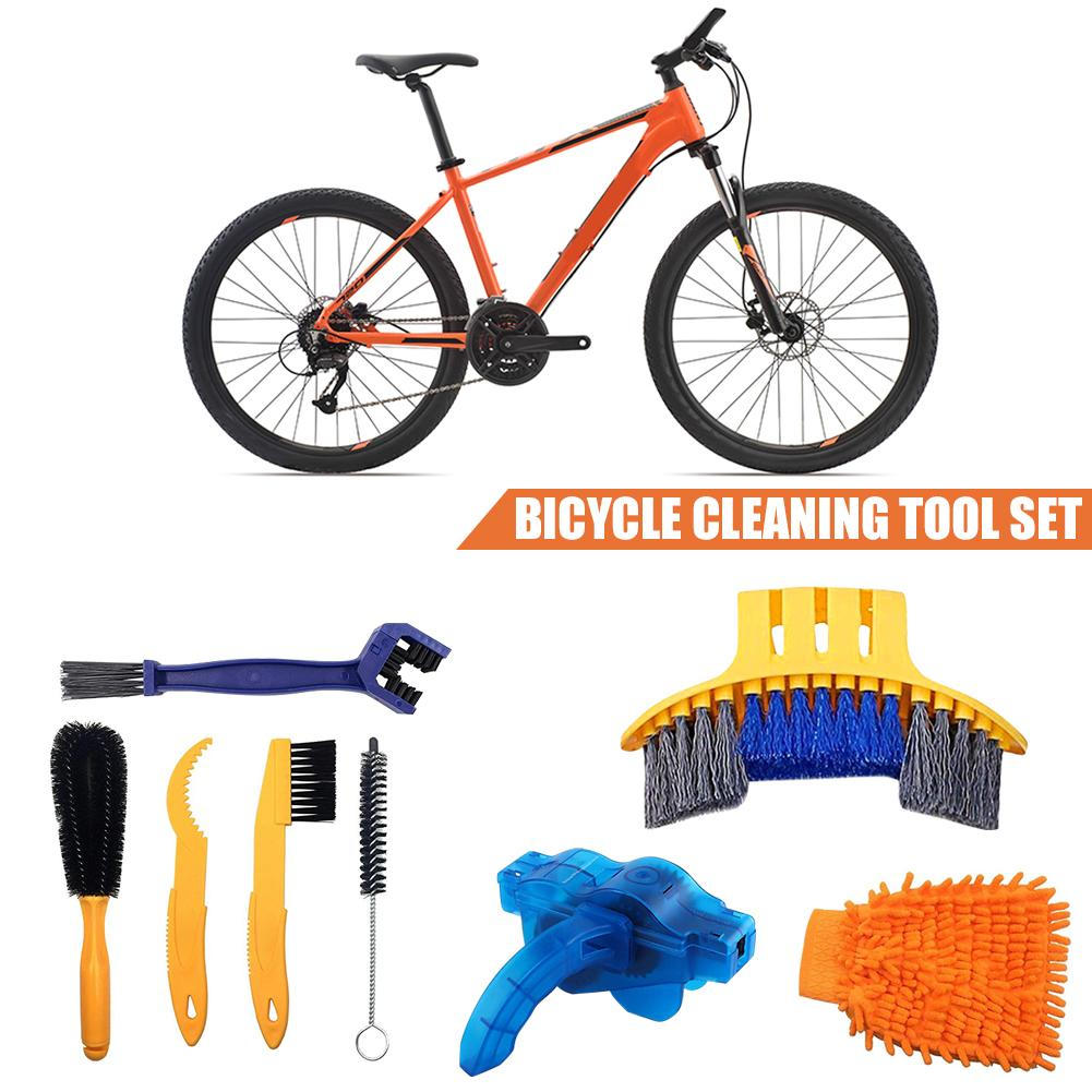 Portable 1set Bicycle Cleaing Tool Kits Cycling Chain Tire Cleaner Brushes For Bicycle Cleaners Accessories Bike Cleaning Gloves