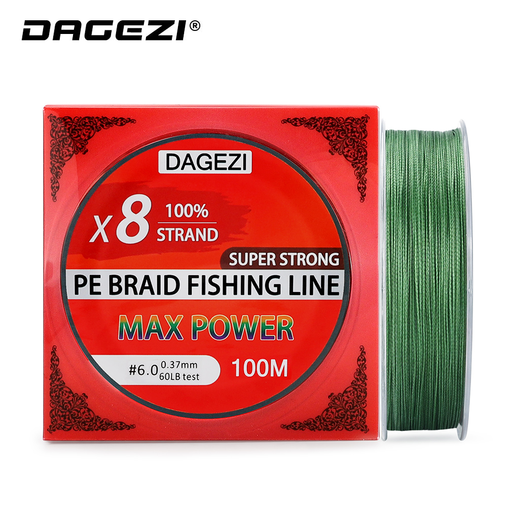 DAGEZI 100m 8 Strand PE Braided Fishing Line 10-80LB Smoother Multifilament Fishing Lines For Carp Fishing Tackle