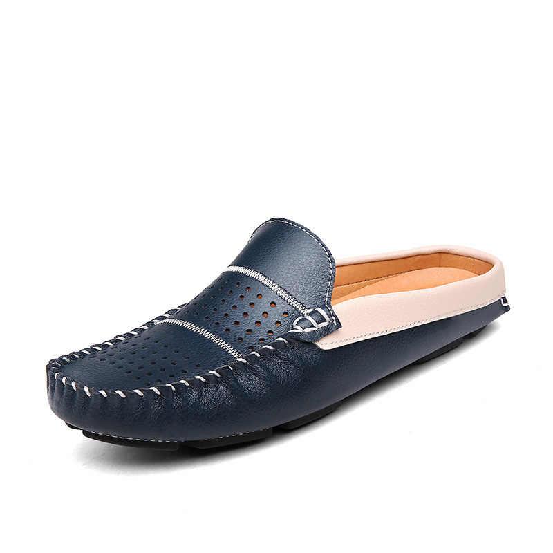 af9b644c00e9 Летние Обувь мужские лоферы Мужская обувь из натуральной кожи Повседневное  слипоны цвет  черный, синий