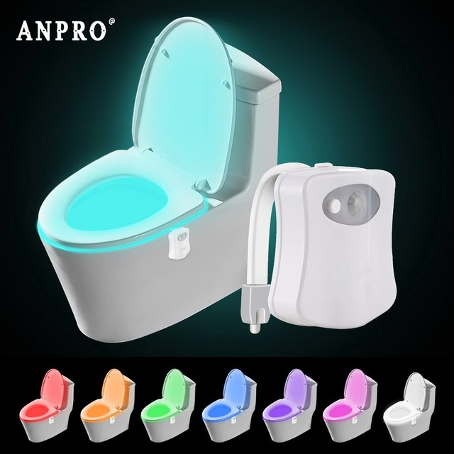 Anpro Led Motion Sensor Lamp Toilet Bowl Light 8 Colors PIR LED Night Light Toilet Lamp Smart Bathroom Light