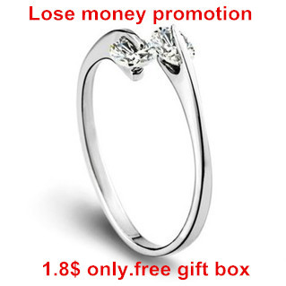Lose money promotion fashion shiny Cubic zirconia 30% percent silver plated ladies`finger rings jewelry gift