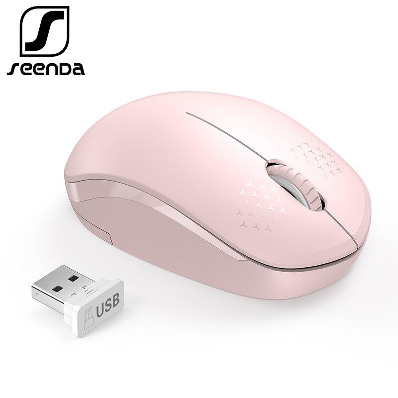 SeenDa Rosa 2,4g Drahtlose Maus für Laptop Desktop Stille Mäuse Tragbare Stumm Mäuse für Notebook Mini Maus Computer Zubehör
