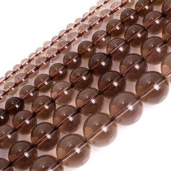 Cuentas de cuarzos ahumados naturales AAA de 4-14mm, cuentas redondas de Lingt marrón sueltas DIY para la fabricación de joyas, accesorios de 15 , regalo para mujer