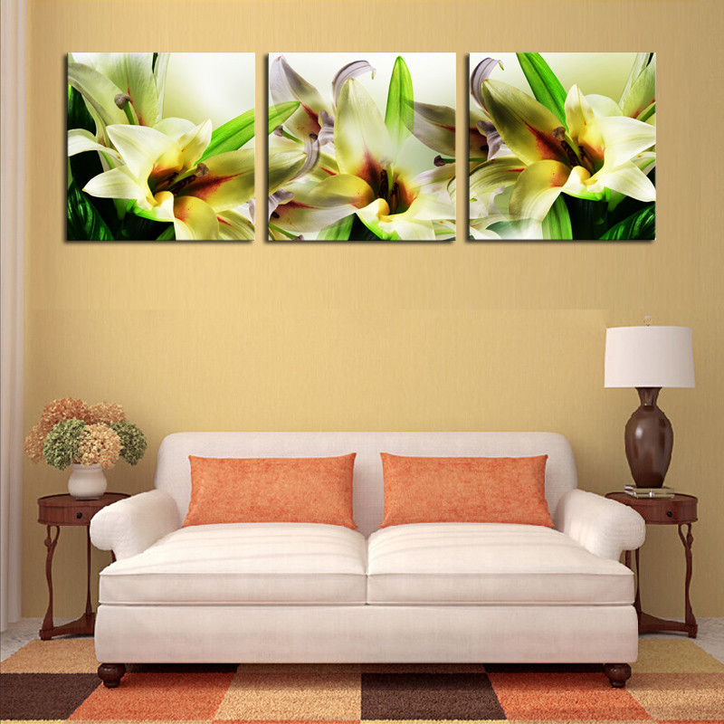 Canvas Wall Art 3 Panel Wall Painting Flower White Lily Modern ...