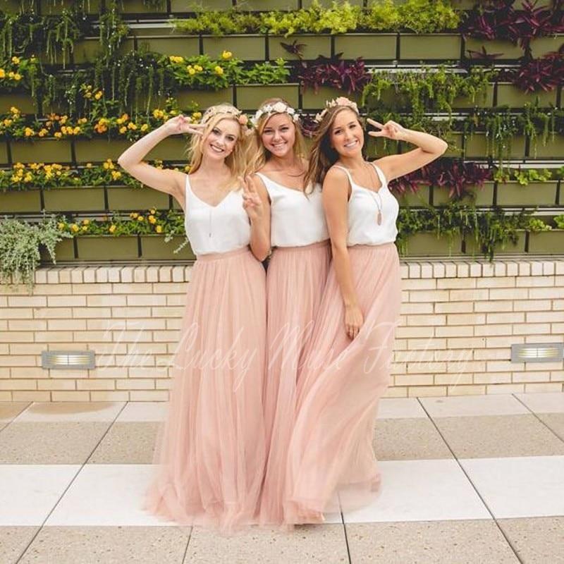 Verbazingwekkend Lente zomer 2017 lange roze bruidsmeisje dress met witte top een OI-28