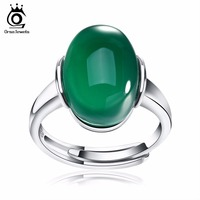 ORSA JEWELS Genuine 925 Silver Rings With Big Green Red Agate 15 Mm Sterling Silver Adjustable