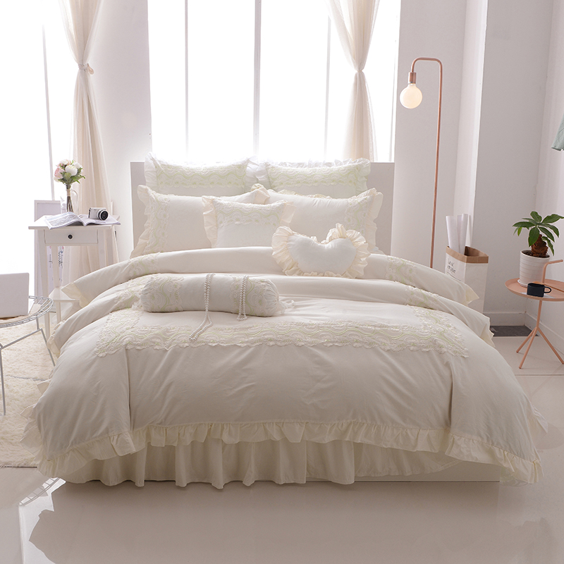 الأميرة نمط الدانتيل bedskirt مجموعة التوأم الملكة طقم فرش أسرة كينج سايز 100% القطن لينة أغطية حاف مجموعة غطاء أغطية سرير مجموعة-في مجموعات الفراش من المنزل والحديقة على  مجموعة 1