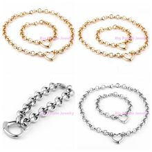 New Fashion 316L Stainless Steel Gold Silver Round Link With Heart Bracelet&Necklace Chain Sets Jewelry For Charming Women